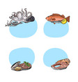 stickers hand drawn seafood vector image