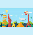 travel and tourism background in flat style vector image vector image