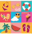 vintage bright pastel colour summer icon set vector image