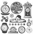vintage monochrome clocks repair elements set vector image vector image