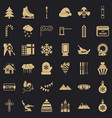 winter birthday icons set simple style vector image vector image