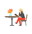 woman lady customer of cafe reading menu vector image vector image
