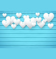 Wooden background with white hearts vector image vector image