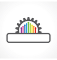 Colorful arrow inside the gear with copyspace stoc vector image
