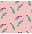 Green blue banana palm leaves pink seamless vector image