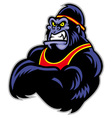 big sporty gorilla crossed arm vector image vector image