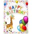 Birthday cartoon with happy giraffe vector image vector image