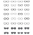 Black silhouettes of different eyeglasses