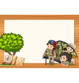 Border design with girls in tent vector image vector image