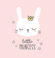 bunny head cute hand drawn little princess vector image