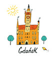 card with city hall in gdansk vector image vector image