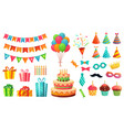 cartoon birthday party decorations gifts presents vector image vector image