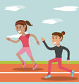 cartoon girl running athletic physical education vector image vector image