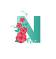 color letter n with beautiful flowers vector image vector image