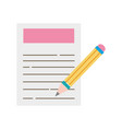 colorful paper document with pencil tool design vector image