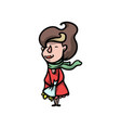 cute fashion modern woman in red coat with flower vector image vector image