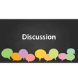 discussion with blackboard and colourfull discuss vector image vector image
