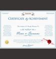 elegant certificate or diploma retro vintage vector image vector image