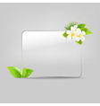 Glass Frame With Leafs And Flowers vector image vector image