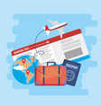 global map with tickets and passport with airplane vector image vector image