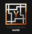 golden letter y logo symbol in the square maze vector image vector image