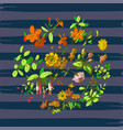 hand drawn wreath tropical flower vintage print vector image vector image