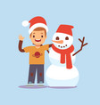 happy boy and snowman christmas party cartoon vector image vector image
