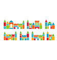 kids castles from colorful toy blocks child vector image vector image