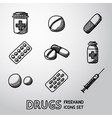 Medicine drugs handdrawn icons set vector image vector image