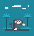 Monkey holding banana in hand Colored flat in blue vector image
