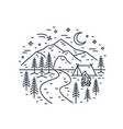 monochrome landscape with tent and campfire vector image