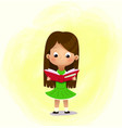 one little cartoon girl with book reading book vector image