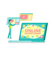 online advertisement laptop with website and user vector image vector image