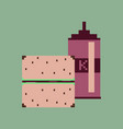 pixel icon in flat style burger and ketchup vector image vector image