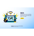 seo concept with icon and character template for vector image vector image
