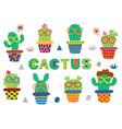 set isolated funny cactus in glasses vector image