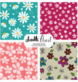 set of doodle vintage flowers pattern seamless vector image vector image