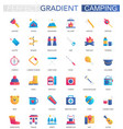 set of trendy flat gradient summer camping vector image