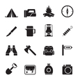 Silhouette tourism and hiking icons vector image