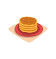 stack of delicious pancakes on red plate tasty vector image vector image
