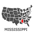 state of mississippi on map of usa vector image vector image