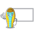 thumbs up with board sleeping bad character vector image vector image