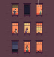 windows with neighbors residential exterior vector image vector image
