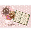 with cup of coffee and book vector image vector image