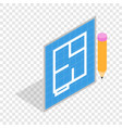 flat project and pencil isometric icon vector image