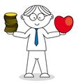 man choosing between love and money vector image