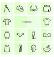 14 textile icons vector image vector image