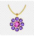 amethyst flower jewelry icon realistic style vector image vector image