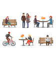 autumn period and autumnal activities set vector image