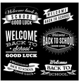Black and white set of labels on back to school vector image